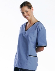 Contrast Trim Scrub Top (Blue/Navy Trim) - with 2 Trim Pockets Style# A02