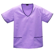 Contrast Trim Scrub Top (Lilac/Purple Trim) - with 2 Trim Pockets Style# A02