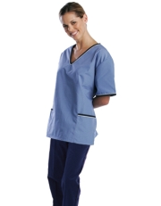 Contrast Trim Scrub Set (BlueTop/Navy Pants) Style# MA02SET
