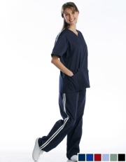 Athletic Stripe Scrub Set (2 Pocket Top & 2 Pocket Pants) - Style# A03SET