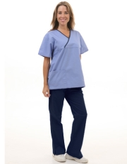 Mix Two Pocket Crossover Scrub Set  Style# MA10SET(Blue Top/Navy Pants)