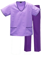 Contrast Trim Scrub Set (LilacTop/Purple Pants) Style# MA02SET