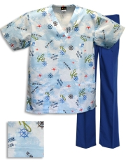 Printed Scrub Set - P303 / T/RoyalPants