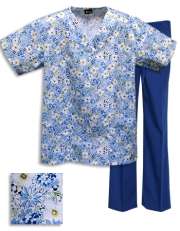 Printed Scrub Set - P312 / T/Royal Pants