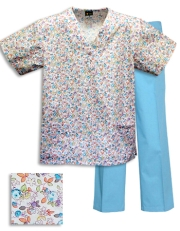 Printed Scrub Set - P316 /Aqua Pants