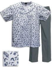 Printed Scrub Set - P334 /Grey Pants
