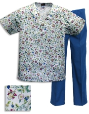 Printed Scrub Set - P336 / Ca/Blue Pants