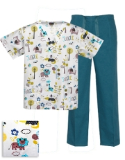 Printed Scrub Set - P804 / Teal
