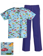 Printed Scrub Set - P824 / Royal