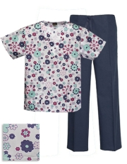 Printed Scrub Set - P855 / Navy Pants