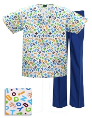 Printed Scrub Set - P926 / T. Royal Pants