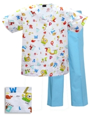Printed Scrub Set - P927 / Aqua Pants