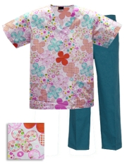 Printed Scrub Set - P929 / Teal Pants