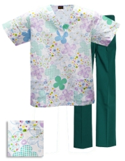 Printed Scrub Set - P930 / H. Green Pants
