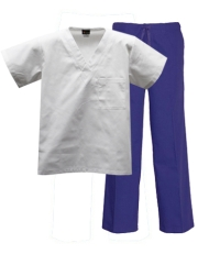 Mix & Match Color Set - 1 pocket White Top & Royal Pants Style# MX01SET