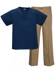 Mix & Match Color Set - 1 pocket Ca.Blue Top & Khaki Pants Style # MX01SET