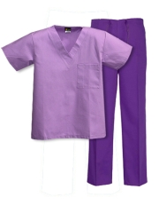 Mix & Match Color Set - 1 pocket Lilac Top & Purple Pants Style# MX01SET
