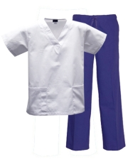 Mix & Match Color Set - 2 pocket White Top & 1 pocket Royal Pants Style# MX03SET