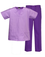 Mix & Match Color Set - 2 pocket Lilac Top & 1 pocket Purple Pants Style# MX03SET