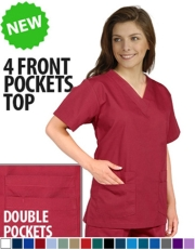 Unisex Solid Scrub Top - (4) front pockets Style# UXT400C (Clearance)