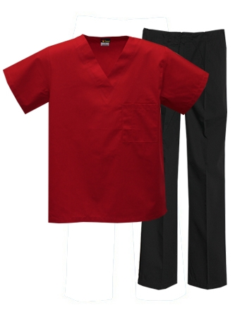 Mix & Match Color Set - 1 pocket Red Top & Black Pants Style # MX01SET