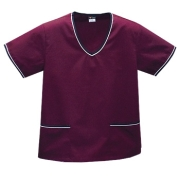 Contrast Trim Scrub Top - Wine/Black Trim Style# A02 (On Sale)