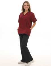 Mix Two Pocket Crossover Scrub Set  Style# MA10SET(Wine Top/Black Pants)