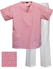 Printed Scrub Set - P1801/White Pants