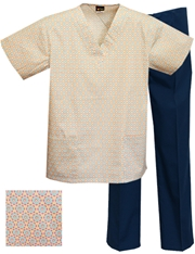 Printed Scrub Set - P1803/Navy Pants