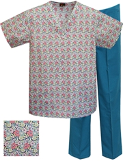 Printed Scrub Set - P1808/Teal Pants