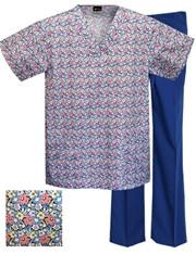 Printed Scrub Set - P1809/T.Royal Pants