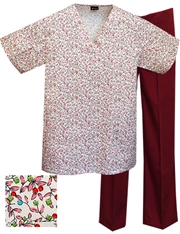 Printed Scrub Set - P1810/Wine Pants