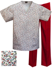 Printed Scrub Set - P1812/Red Pants