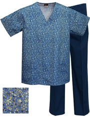 Printed Scrub Set - P1822/Navy Pants