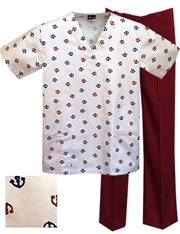 Printed Scrub Set - P1840/Wine Pants