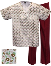 Printed Scrub Set - P8302/Wine Pants