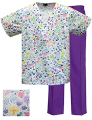 Printed Scrub Set - P8303/Purple Pants