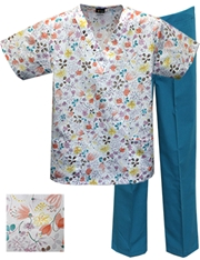 Printed Scrub Set - P8304/Teal Pants