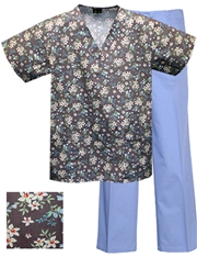 Printed Scrub Set - P8316/Blue Pants