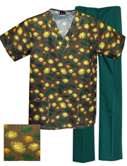 Printed Scrub Set - P9501/H.Green Pants