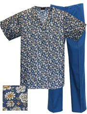 Printed Scrub Set - P9503/C.Blue Pants
