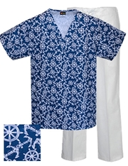 Printed Scrub Set - P9513/White Pants