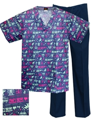 Printed Scrub Set - P9526/Navy Pants