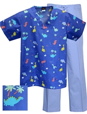 Printed Scrub Set - P9528/Blue Pants
