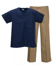 Mix & Match Color Set - 1 pocket Navy Top & Khaki Pants Style # MX01SET