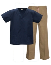Mix & Match Color Set - 2 pocket Navy Top & 1 pocket Khaki Pants Style # MX03SET