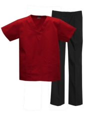 Mix & Match Color Set - 2 pocket Red Top & 1 pocket Black Pants Style # MX03SET