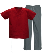 Mix & Match Color Set - 2 pocket Red Top & 1 pocket Grey Pants Style # MX03SET