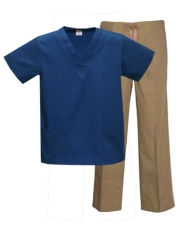 Mix & Match Color Set - 2 pocket Ca.Blue Top & 1 pocket Khaki Pants # MX03SET