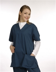 Unisex Solid Scrub Top - 2 Front Pockets Style# UXT02C (Clearance Sale)